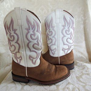 Laredo Mesquite White & Red Women's Cowboy Boots 9